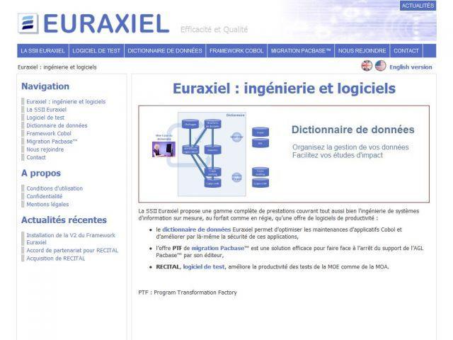 Logiciel de test et dictionnaire de données – Euraxiel