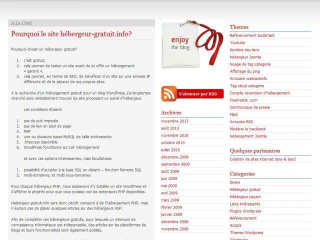 Hébergement php wordpress gratuit