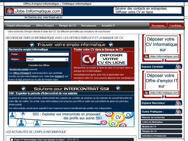 Dépot de CV gratuit en ligne pour un emploi informatique